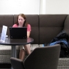 A student studies in the new collaboration space.